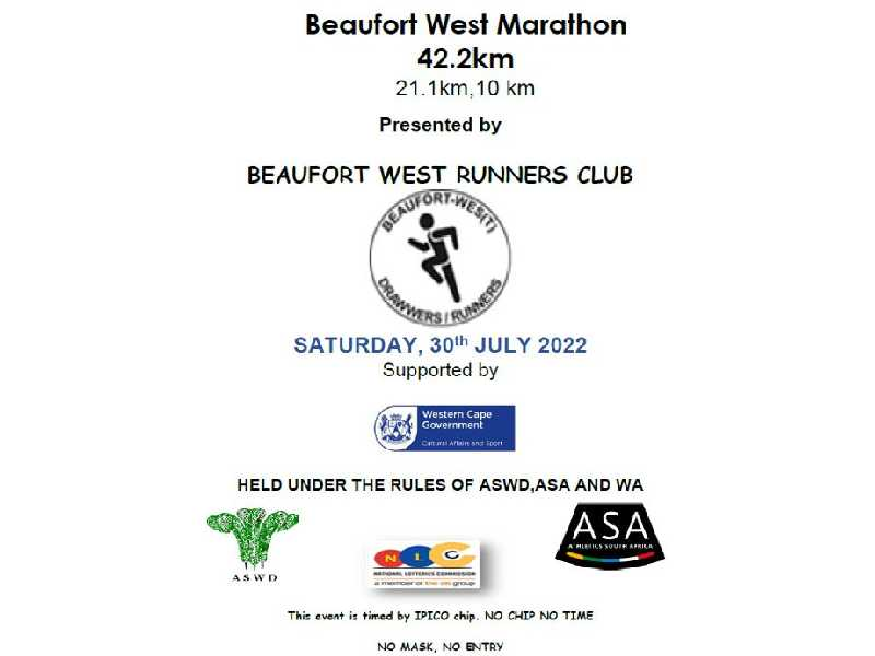 Beaufort West Marathon 42km, 21km & 10km